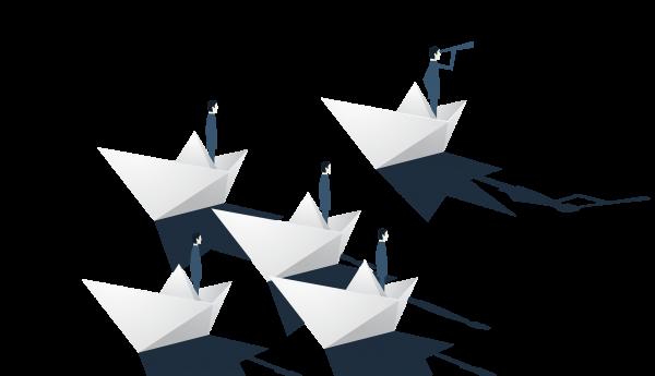 hombrecitos navegando sobre barcos de papel