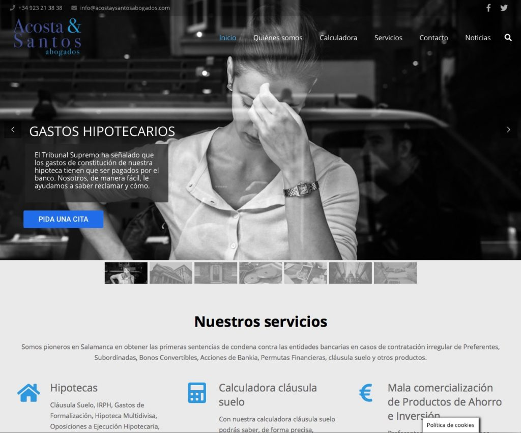 Imagen página Web de Acosta y Santos Abogados