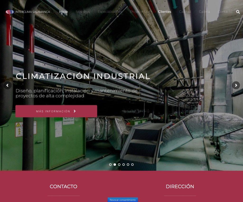 Imagen de la página web de Interclima Salamanca
